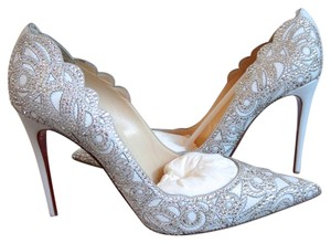 Christian Louboutin Top Vague Strass Bridal 39 white Pumps