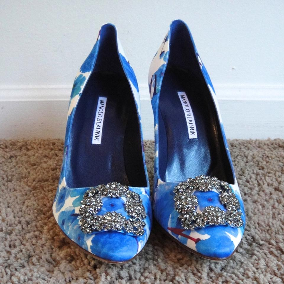 5c85ca4999809 Manolo Blahnik Blue Floral Hangisi Satin Crystal 105 682 Pumps Size EU 40  (Approx. US 10) Regular (M, B) - Tradesy