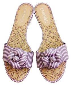 Chanel Interlocking Cc Logo purple Sandals