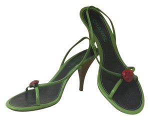 Chanel Green Leather Lady Bug Sandal Heels Sandals