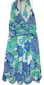 Blue, Green, White & Black Maxi Dress by Madison Leigh Halter Empire Waist 14