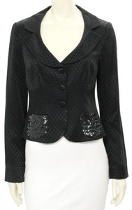 Nanette Lepore Fitted Polka Dot Black Blazer