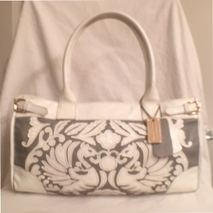 Tiffany & Fred Leather Patent Leather Satchel in White Gray