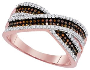 Other Ladies Luxury Designer 10k Rose Gold 0.50 Cttw Red Diamond Micro-Pave Fashion Ring By BrianGdesigns