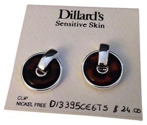 Dillard's Dillard's Sensitive Skin Silver Lucite Tortoise Shell Clip On Earrings