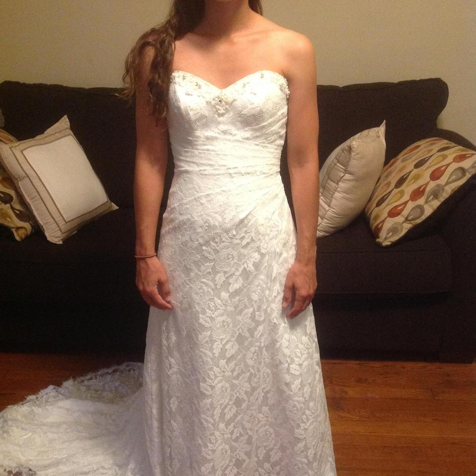 c328ce83f25 Alfred Angelo White Satin with Lace Overlay 2208 Traditional Wedding Dress. Street  Size  ...