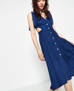 Zara short dress Blue Linen Cut-out Denim Summer on Tradesy