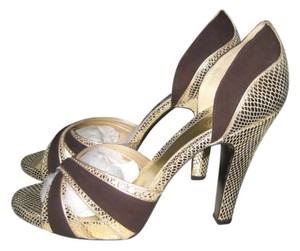 Oh Deer! Cannon Peep Peep-toe Peep Toe Oh...deer Snake Brown/Gold Pumps