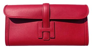 Hermès Jige Red Jige Rouge Grenat Clutch