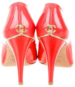Chanel Patent Leather Peep Toe Red, Orange Pumps