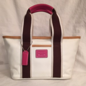 Coach Leather Mini Lunch Tote in White Brown Tan Pink (multi)