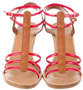 Louis Vuitton Strappy Patent Leather Lv Red, Beige, Brown Sandals