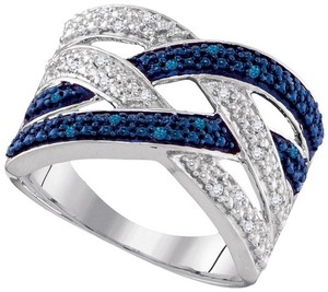 Other Ladies Luxury Designer WGP .925 Sterling Silver 0.10 Cttw Blue Diamond Fashion Ring By BrianGdesigns