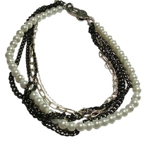 Multi Strand Chain Faux Pearl Necklace Short Length J646