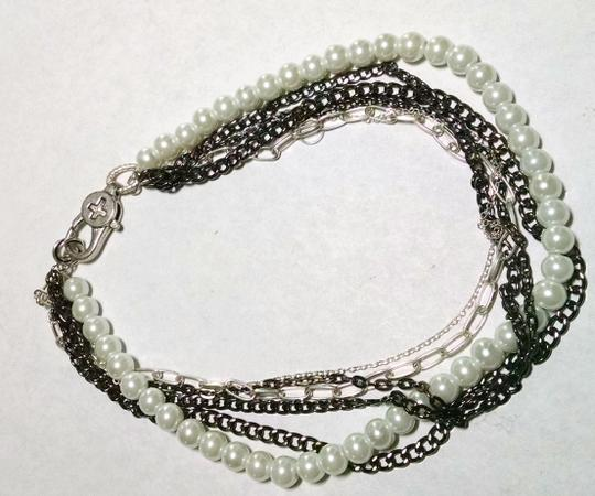 Other Multi Strand Chain Faux Pearl Necklace Short Length J646 Image 2