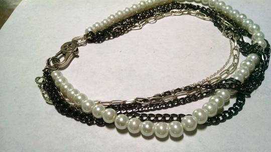 Other Multi Strand Chain Faux Pearl Necklace Short Length J646 Image 3