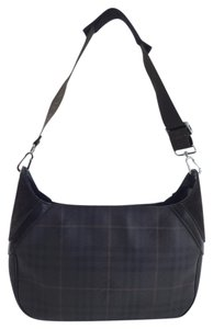 Burberry Leather Suede Plaid Handbag Hobo Bag