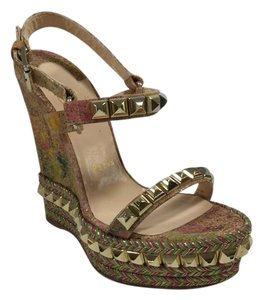 Christian Louboutin Multi/Light Gold Wedges