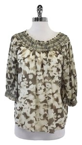 Alice + Olivia White Beige Abstract Print Top