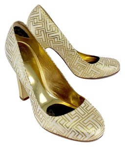 Tory Burch Gold Metallic T Print Pumps