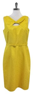 David Meister Bright Yellow Belted Belted Dress
