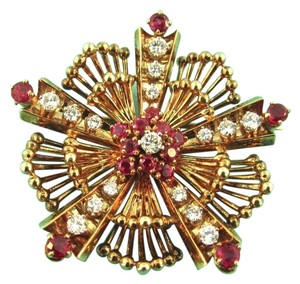 Tiffany & Co. RARE Vintage Estate Tiffany & Co 14K Yellow Gold Diamond Ruby Brooch Pin 1CTW