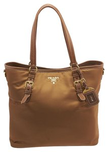 Prada Nylon Large Tote in Brown