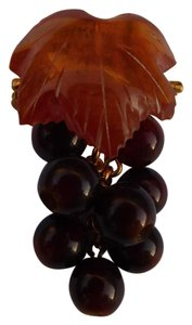 Baltic Vintage Russian Carved Amber Grape Cluster Leaf Pin Brooch New