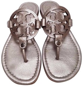 Tory Burch Bold Logo Leather Upper Pewter Sandals