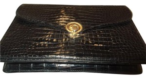 Gucci Crocodile Alligator Vintage Black Clutch
