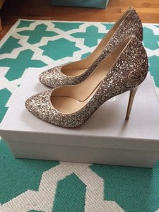 Jimmy Choo Gold Glitter Esme Formal Size US 6.5 Regular (M, B)
