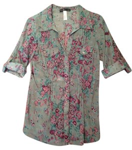 Love Squared Button Down Shirt Gray with pink flowers