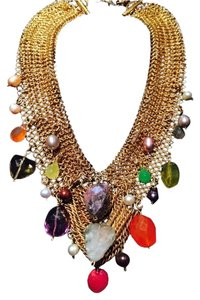 Fahrenheit Statement Neck Mesh Goldtone Necklace With Crystal and Pearls and Gorgeous Stones
