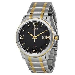 Citizen Citizen Eco-drive Black Dial Two Tone Stainless Steel Mens Watch