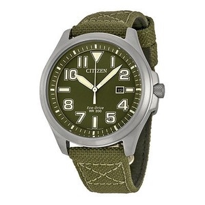 Citizen Citizen Military Green Dial Green Nylon Mens Watch