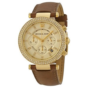 Michael Kors Michael Kors Chronograph Gold Dial Brown Leather Ladies Watch