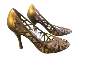 BCBGMAXAZRIA Strappy Bronze Pumps