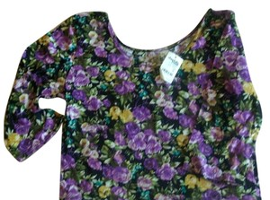 Charlotte Russe Top Purple black floral crop top