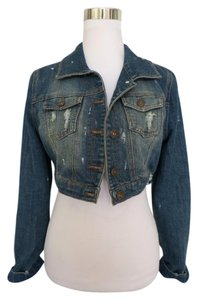 Dollhouse Crop Denim Distressed Womens Jean Jacket