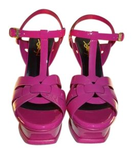 Saint Laurent Ysl Tribute Ysl Patent Leather Ysl Color Ysl T Straps Made In Italy Fuschia Platforms