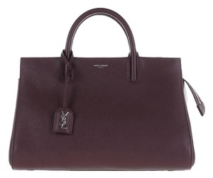 Saint Laurent Ysl Leather Tote in Wine
