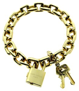 Louis Vuitton Louis Vuitton Padlock & Keys Gold Charm Bracelet