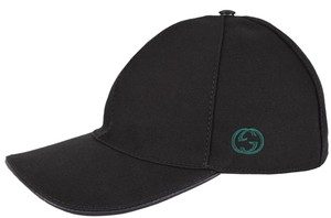 Gucci NEW Gucci Men's 387554 BLACK Canvas GG Green Red Web Baseball Cap Hat M