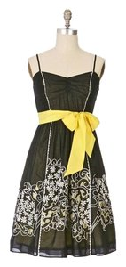 Anthropologie short dress Black Yellow on Tradesy
