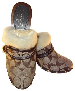 Coach Faux Fur Trim Wood Heels Signature Open Back Brown signature Mules
