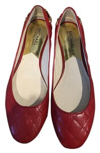 Michael Kors Quilted Gold Hardware Red Flats