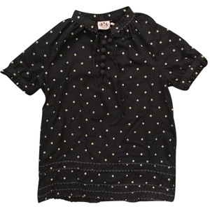 Juicy Couture Polka Dot Embellished Embroidered Designer Casual Top Navy