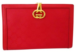 Gucci Beautiful Vintage Gucci Red GG Wallet with Kiss Lock