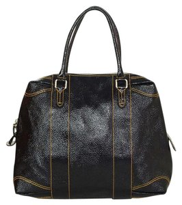 Fendi Patent Leather Grained Silver Hardware Tote in Black