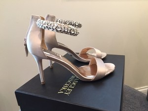 Badgley Mischka Wedding Shoe Badgley Mischka Carlotta Crystal Embellished Ankle Strap Sandal Ankle Strap Sandal Nude Blush Wedding Shoes